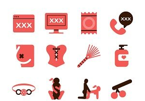 77086067 - stock vector illustration: erotic icons set 1