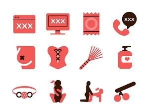 77086067 - stock vector illustration: erotic icons set 1